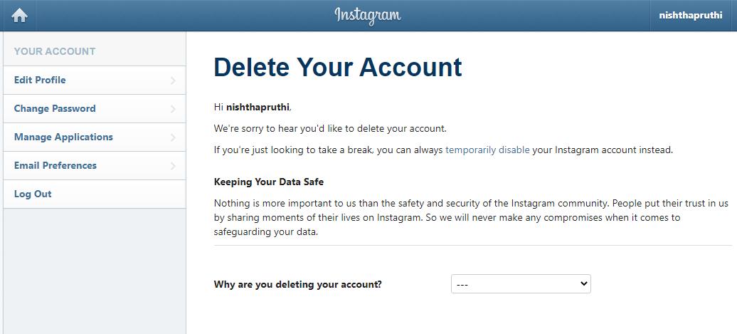 delete your account: instagram